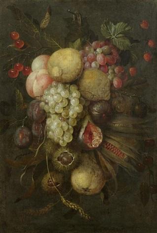 früchtestillleben mit trauben zitronen und kastanien by jan pauwel gillemans the elder