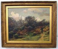 landscape with figure holding a bundle of sticks by ernest higgins rigg