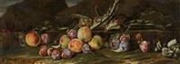 stilleben in einer landschaft mit pfirsichen, zwetschgen und artischocken by aniello ascione