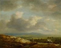 weite hügelige panoramalandschaft mit pferde im vordergrund by cornelis simonsz van der schalcke