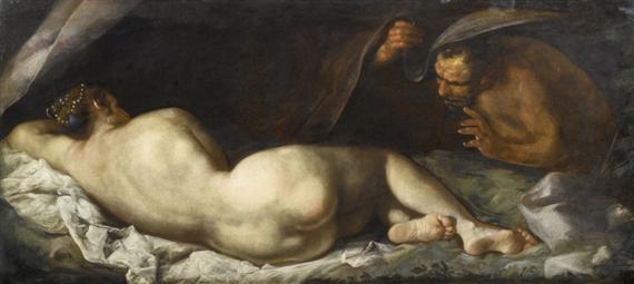 liegende nymphe von einem satyr überrascht by jacopo robusti tintoretto