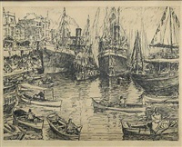 waterfront (+ harbor view; 2 works) by carl heilborn