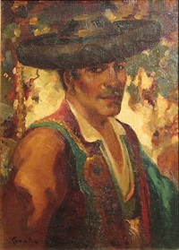 a portrait of a man in spanish costume by oscar theodore jackman