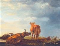schafe und kühe auf der weide by cornelis van lelienbergh