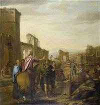 handwerker vor einer stadtansicht by claes cornelisz moeyaert