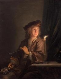 junger mann mit einer pfeife (+ junger mann mit einer violine; pair) by arnold boonen