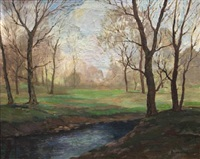 trees beside a river by george sanders bickerstaff