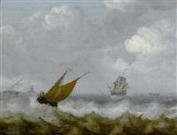 schiffe auf einer stürmischen see by julius porcellis