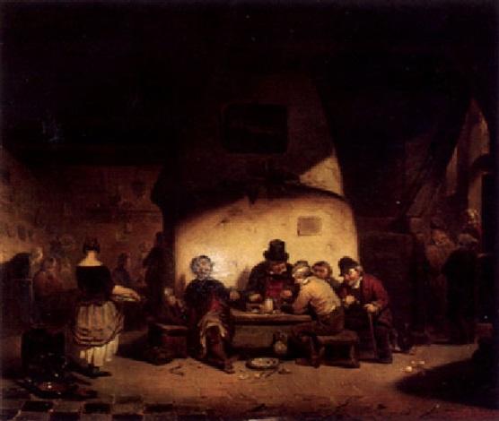wirtshausszene mit würfelspielern by leopold fissette