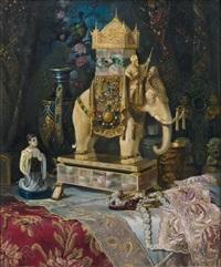 stilleben mit reich geschmücktem elfenbein-elefanten, perlmuttdöschen, kleinodien und zierrat by ludwig augustin