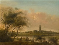 angler at the nederrijn with the town of rhenen in the background by anthony jansz van der croos