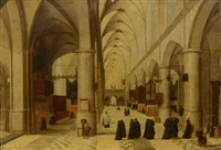 view inside a church with visitors by abel grimmer