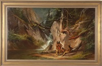 landscape with four native americans by george frederick bensell