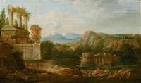 südliche landschaften mit tempelruinen, figurenstaffagen und tieren (pair) by hendrick frans van lint