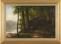 forest landscape at water's edge by george hetzel