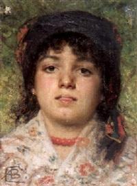 portrait eines mädchens by antonio barzaghi-cattaneo