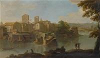 ansicht auf den tiber und ponte rotto in rom by paolo anesi