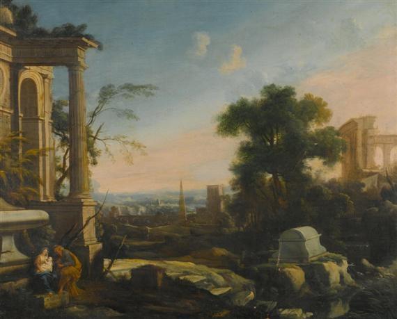 rast auf der flucht nach ägypten in einer ruinenlandschaft by pierre antoine patel