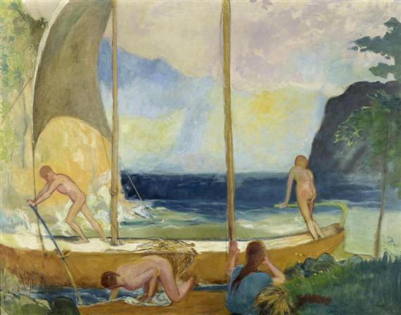 schiff mit badenden by alexander leo soldenhoff