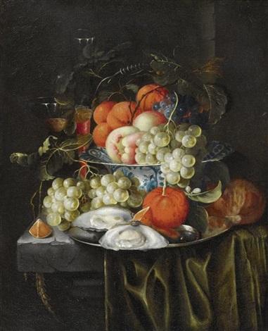 stilleben mit früchten und austern auf einer marmorplatte by jan pauwel gillemans the elder