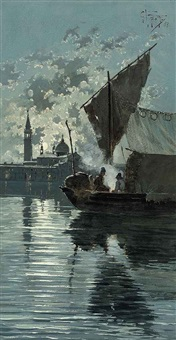 fishermen on the lagoon before venice under moonlight by giuseppe vizzotto alberti