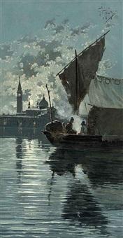 fishermen on the lagoon before venice under moonlight by giuseppe vizzotto alberti