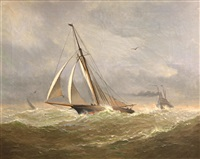 sailboat in rough seas by frederick schauchardt samuels