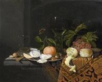 früchtestilleben mit austern und silberplatte by johannes borman