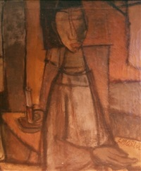 untitled - portrait of a seated figure by samuel marcus adler