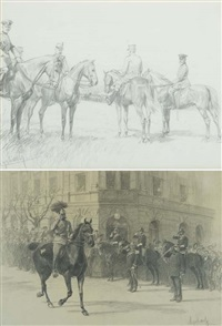emperor franz josef of austria (+ four officers; 2 works) by felicien de myrbach-rheinfeld