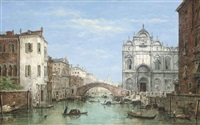 gondolas before the campo san zanipolo, venice by william henry haines