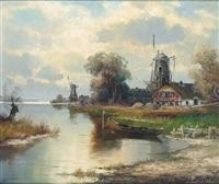 holländische flusslandschaft mit windmühlen an einem spätsommertag by helmut stadelhofer