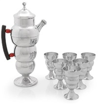 a cocktail shaker with six cups (set of 7) by farberware (co.)