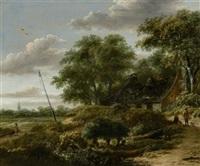 niederländische landschaft mit reisenden im vordergrund by roelof van vries