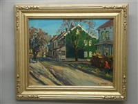 autumn street scene with figure by hugh h. campbell