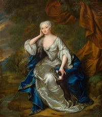 porträt der jacoba wilhelmina van gheel van spanbroeck in edler kleidung mit einem hündchen by mattheus verheyden