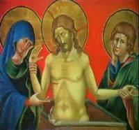 christ au tombeau entre la vierge et saint jean       l'evangeliste by nicoletto semitecolo