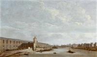 blick auf die grande galerie des musée du louvre in paris, mit der seine, der porte neuve, der tour du bois und dem pont neuf by abraham de verwer