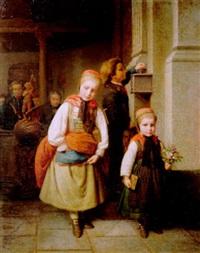der opferstock. ein knabe und zwei mädchen aus der kirche kommend by karl friedrich boser