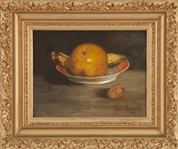 still life of an orange and banana in a porcelain dish by louis contoit