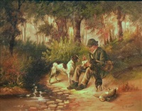hunter with his dogs by c. kreisar