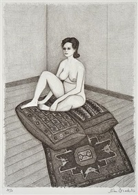 nude on cushion by john brack