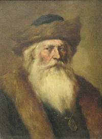 a portrait of a bearded gentleman with a hat by henry raschen