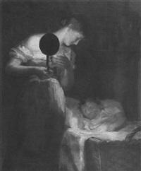 mother minding sleeping child by carl fischer