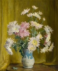 chrysanthemums in blue vase by beatrice hagarty robertson