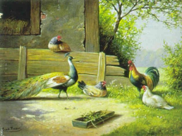 hühnerhof mit pfau by kurt haase jastrow