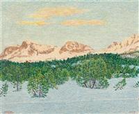 engadiner winterlandschaft mit corvatsch, arles und rosatsch von maloja aus gesehen by gottardo guido segantini