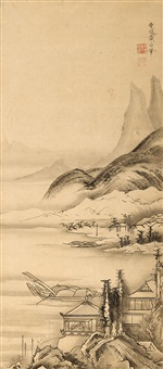 fishing boats in a landscape by shohaku