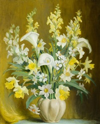 callalilies and daffodils in a white vase by beatrice hagarty robertson
