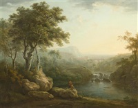 flusslandschaft mit reisenden by abraham pether